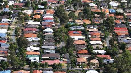 Aerial images of suburban houses in southwest Brisbane.