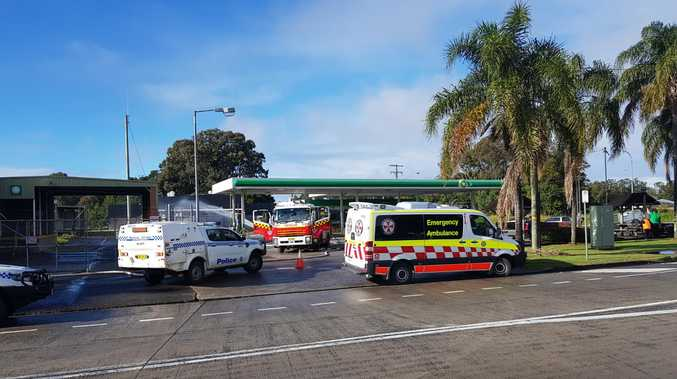 Crews have been called to a gas leak at a Ballina service station.