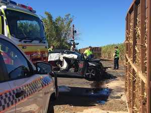 Train and car crash at Qunaba
