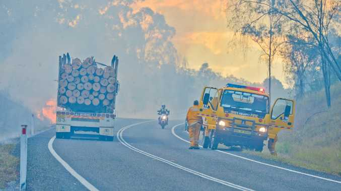 JUMPING LINES: A large bushfire broke out beside Gladstone Monto Rd on Thursday.