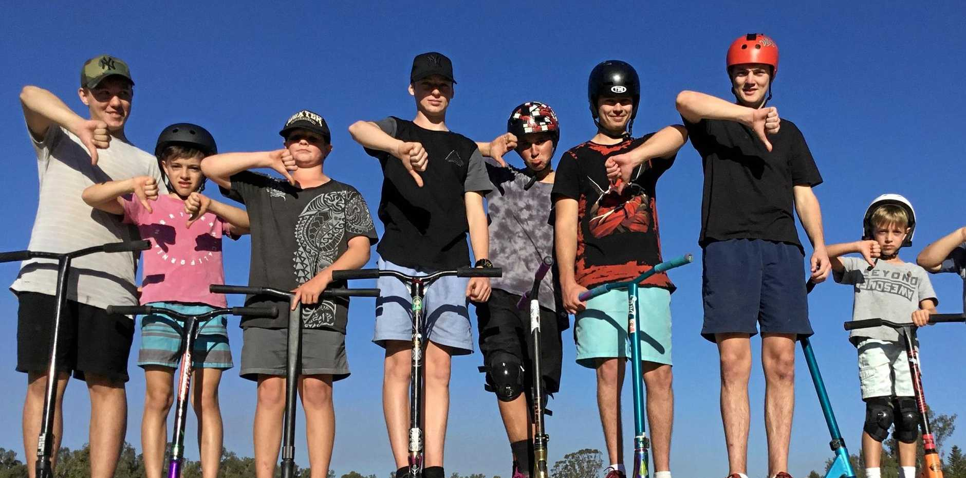 THUMBS DOWN: Fernvale skate park users are calling for improvements.
