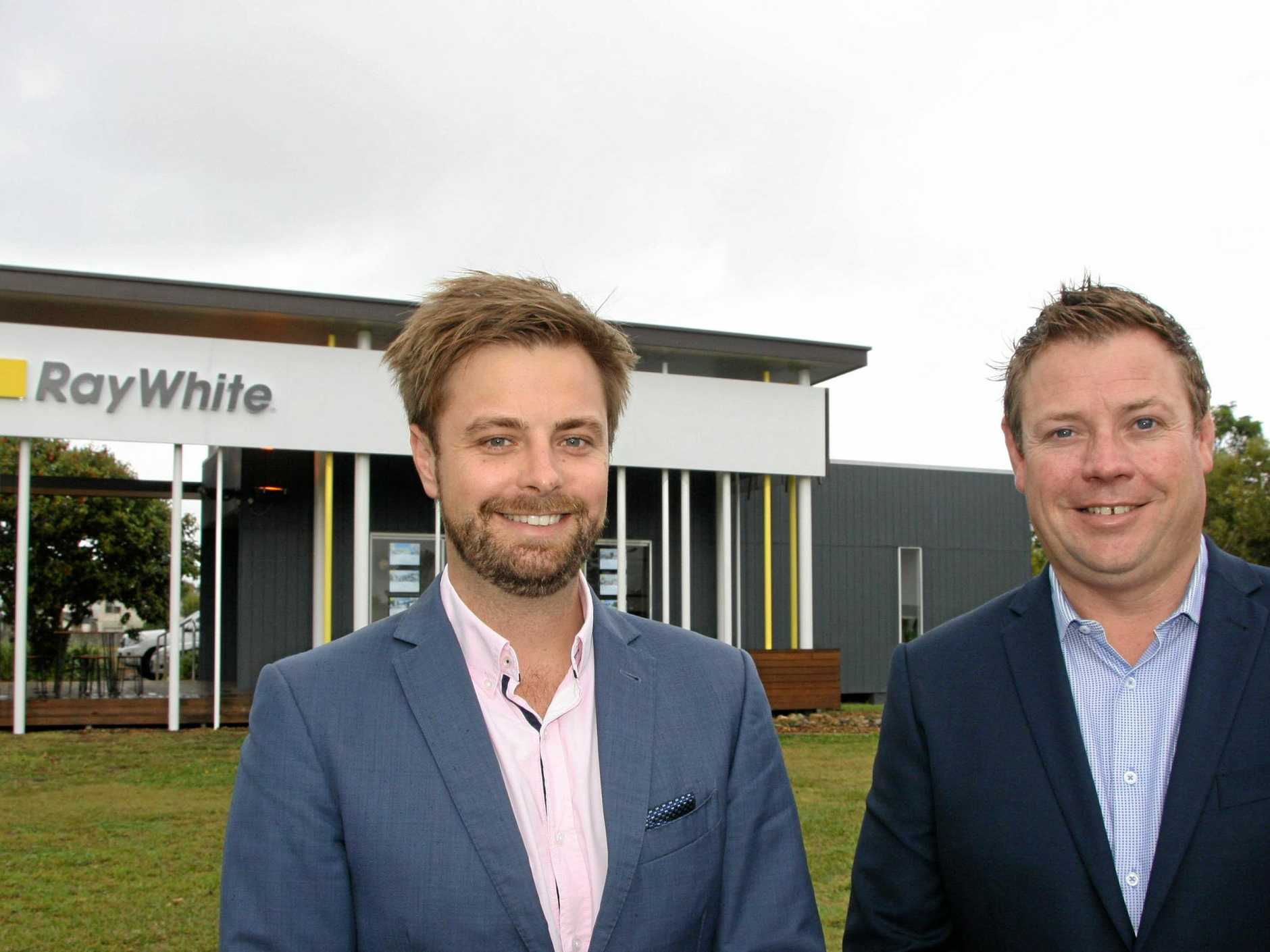 MEETING THE MARKET: James Goldsworthy and Brent Higgins at their new Ray White Kawana office at Birtinya.