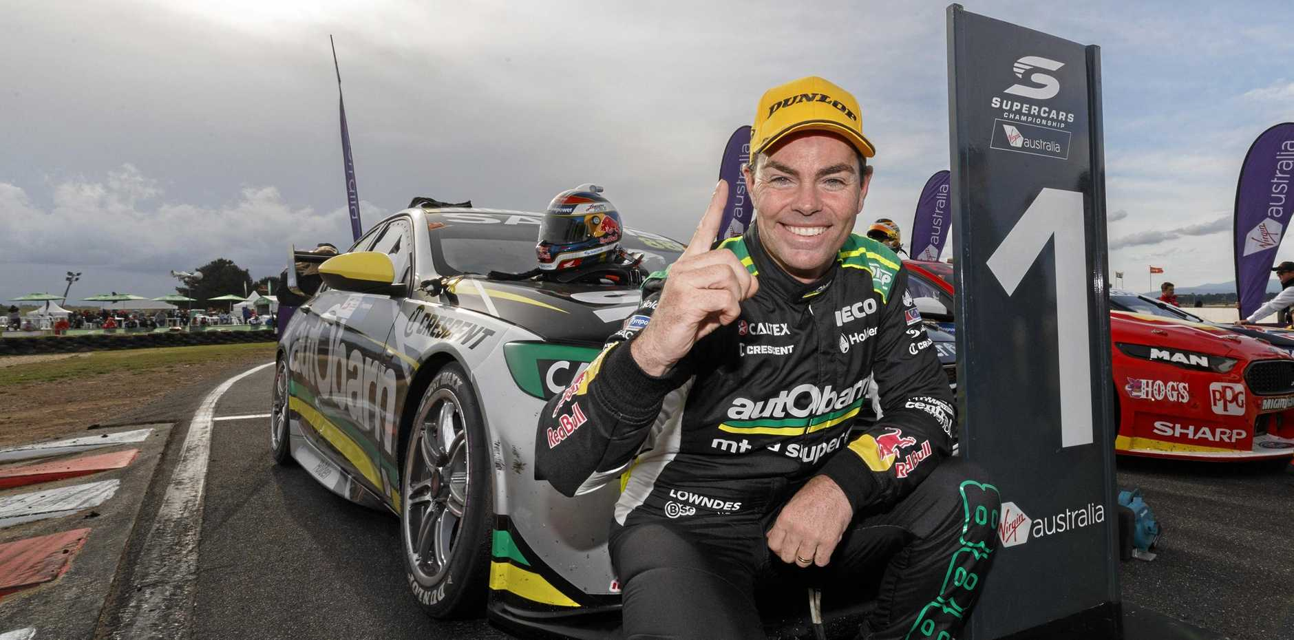 POPULAR NUMBER ONE: Supercars ace Craig Lowndes announces his retirement during the Townsville round of this year's series. He will race for the final time in Ipswich next weekend.