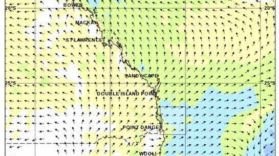Bureau of Meteorology wind forecast 10am Friday July 13.
