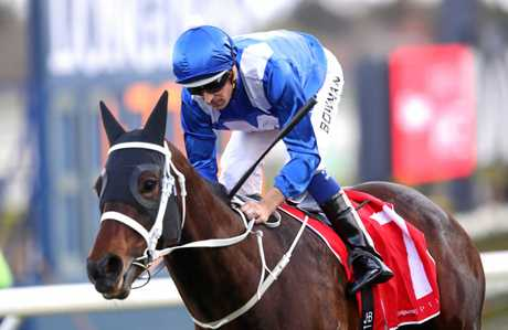 Hugh Bowman on Winx wins race 6 during Sydney Racing at Royal Randwick Racecourse on September 16.
