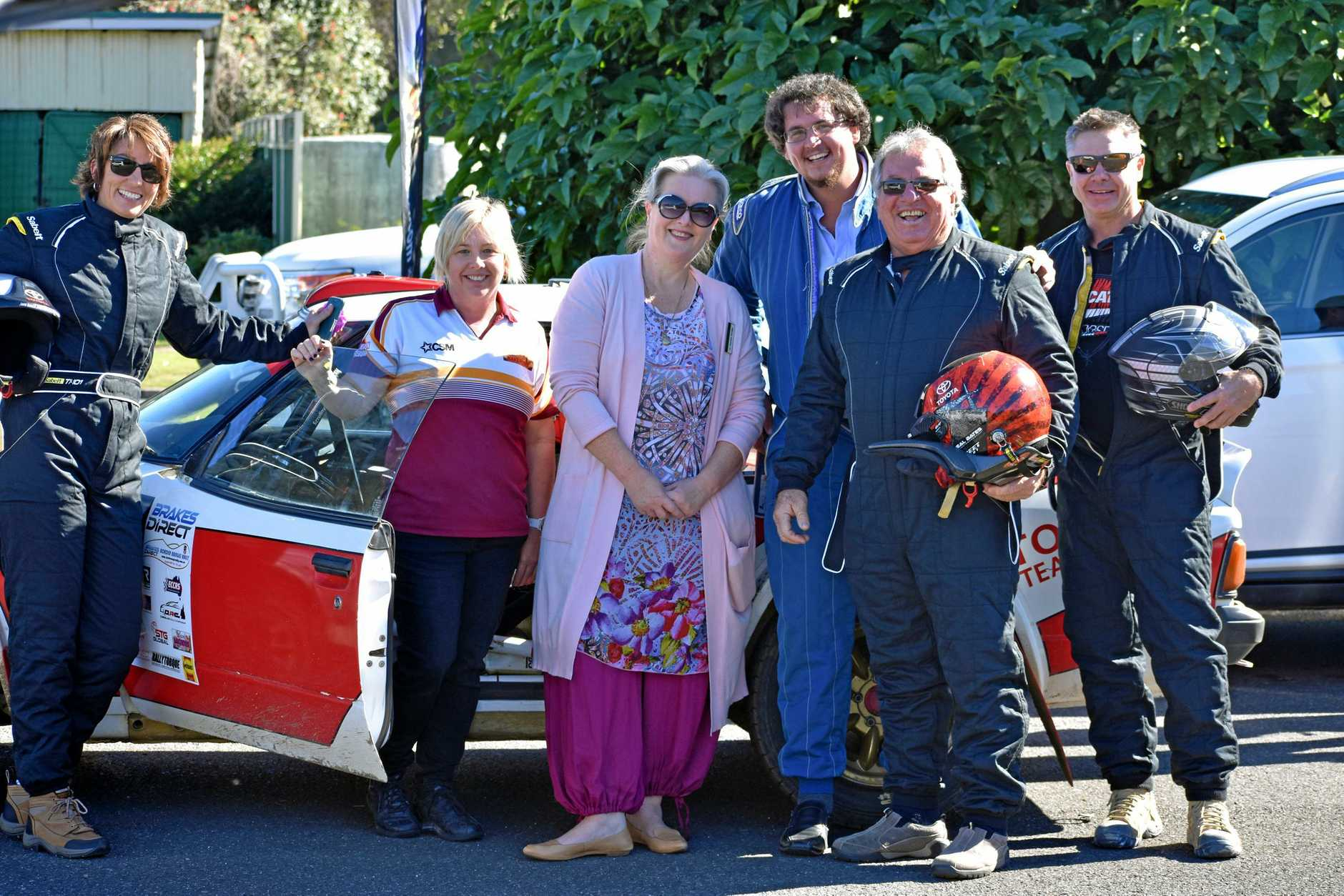 REV IT UP: Kyogle Councillor Kylie Thomas, Jo Sodiro from Dave's Bakehouse, mayor Danielle Mulholland, Clr Hayben Doolan, Clr John Burley and Scott Facey from the Commercial Hotel at the Border Ranges Rally practice day at Wiangaree.