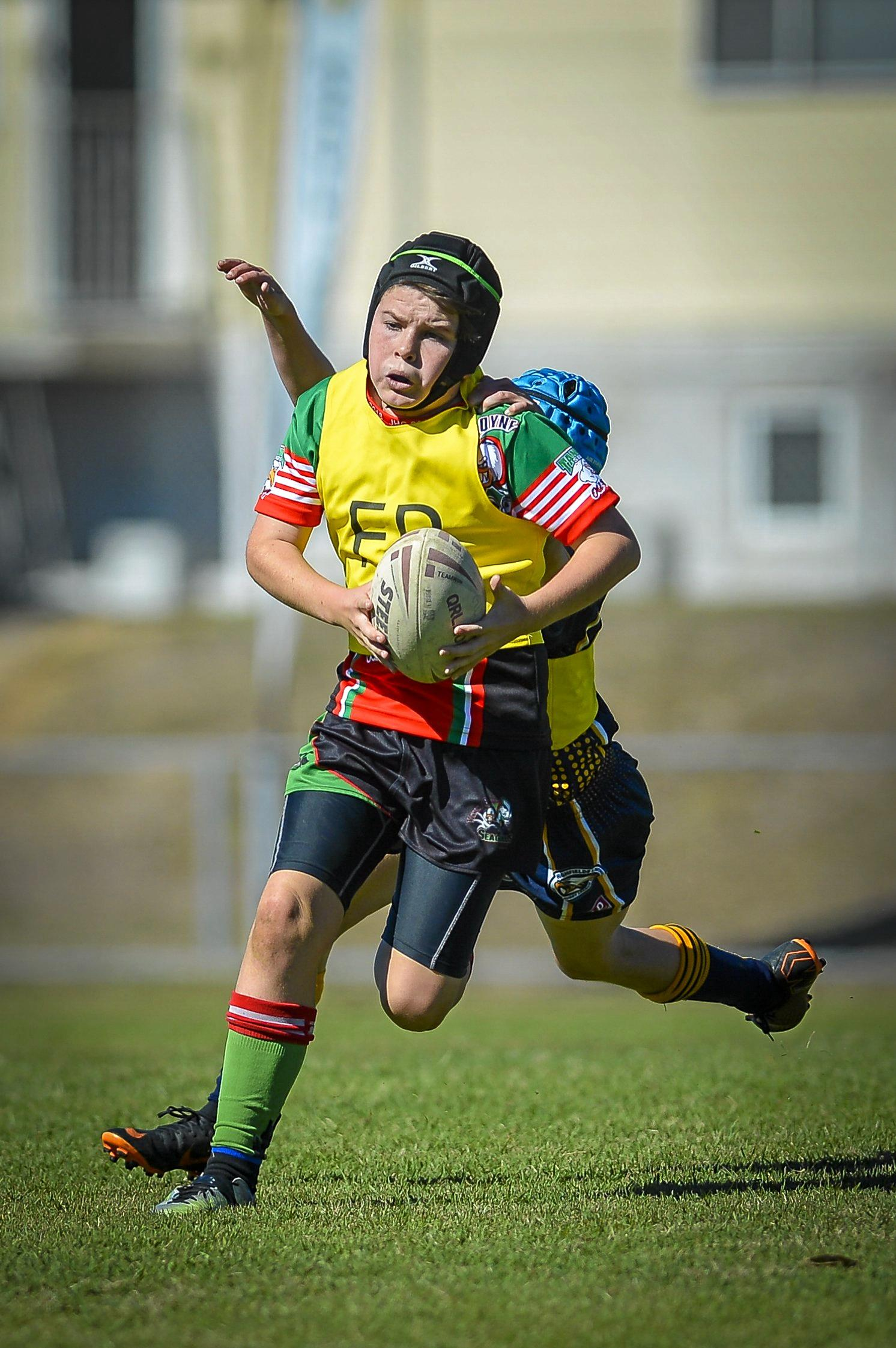 Tannum Seagulls player Josh McLeish during the Hetherington Cup at Marley Brown oval on 13 July 2018.