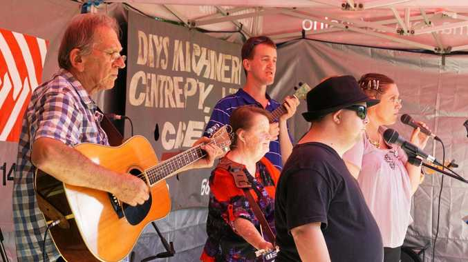 BAND: The Windara Workers are, from left, Tom Rogers , Glenda Hanley, Ben Eggins, Michael Hamilton and  Maree Donaldson.