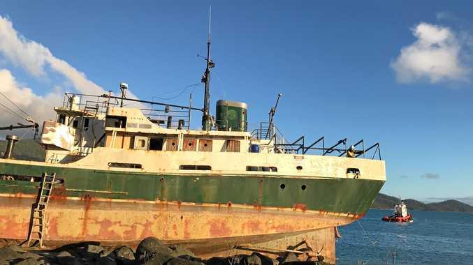 Preparations to refloat the stricken former Australian Navy vessel the MV Banks on Thursday.