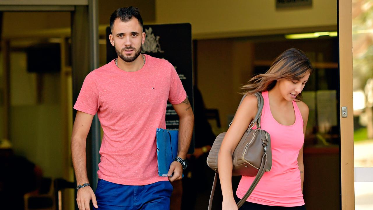 French backpackers Valentin Longin, 25, and Alexia Aubry, 24, leave Darwin Local Court after pleading guilty to credit card fraud