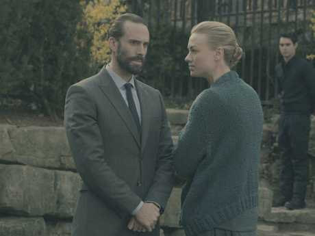 Yvonne Strahovski, with Handmaid's Tale co-star Joseph Fiennes, was the standout in season two of the Handmaid's Tale. Picture: George Kraychyk/Hulu