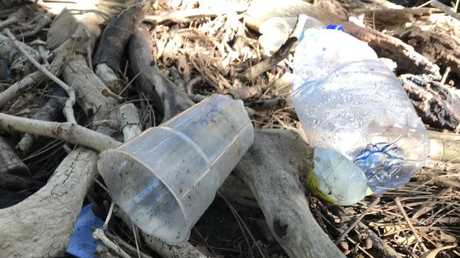 Plastic cups and containers made up most of the rubbish at Al's local creek. Picture: Al McGlashan