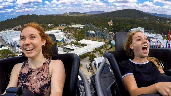 The DC Rivals HyperCoaster at Movie World was launched last year. Julia Collins, 19 and Caity Konners, 19 from Morayfield give the coaster a whirl. Picture: Nigel Hallett