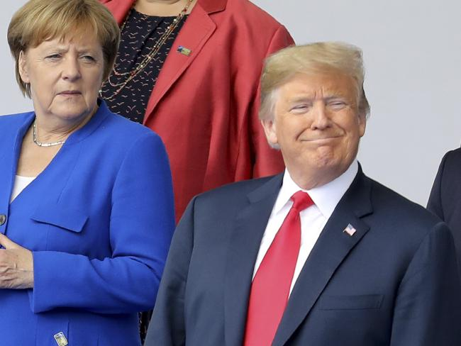 "Tensions run high between German Chancellor Angela Merkel and Mr Trump after the US president claimed Germany is ""totally controlled"" and ""captive"" to Russia. Picture: AP"