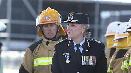 Inspector Katarina Carroll inspects new fire graduates. File picture