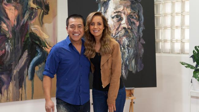 Anh Do and Carrie Bickmore in series three of the ABC series Anh's Brush with Fame.