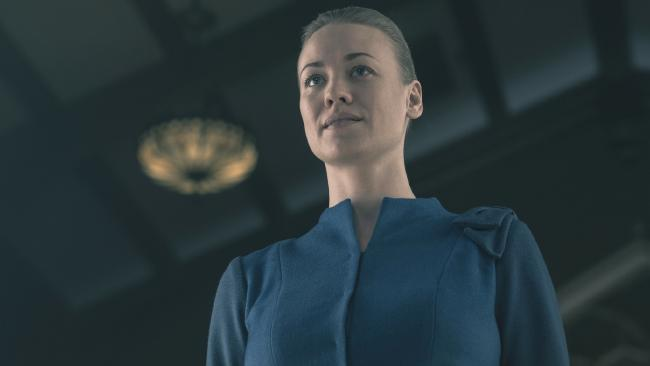 Aussie Yvonne Strahovski has been nominated for an Emmy for The Handmaid's Tale. Picture: George Kraychyk/Hulu via AP