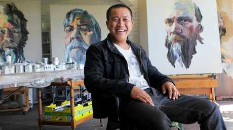 Anh Do in his painting studio. Picture: Hollie Adams