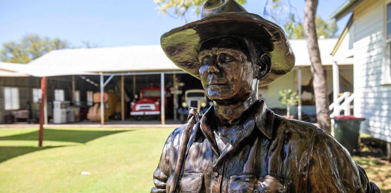 Snow Burgess bronze replica at Nebo Shire Museum.