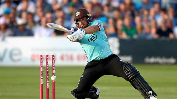 Aaron Finch hits out during his unbeaten 131 for Surrey against Sussex in a Vitality Blast match in Hove, England. Picture: Jordan Mansfield/Getty Images