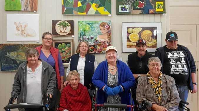 GETTING CREATIVE: Sue Capewell, Lyn Roots, Kelly Horton, Isaac McIntyre, Margaret Watson, Elsie Vicary, Joy Jelowik and Barbara Burnett have been enjoying the Blue Care art classes.