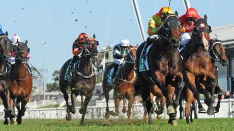 Star Of Monsoon accelerates away from his rivals. Picture: Simon Bullard/AAP
