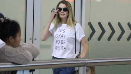 Right-wing activist Lauren Southern touches down in Brisbane ahead of her 'free speech' talks wearing an 'It's okay to be white' T-shirt. She said she received death threats because of it and will have heavy security at her shows to protect herself from 'crazy protesters'. Picture: Twitter