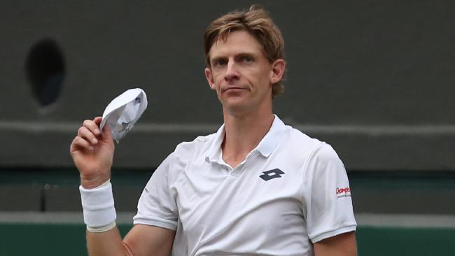 South Africa's Kevin Anderson can barely celebrate after his semi-final win.
