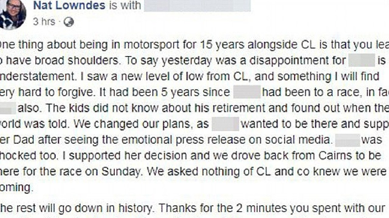 This post on Natalie Lowndes' Facebook was later deleted.
