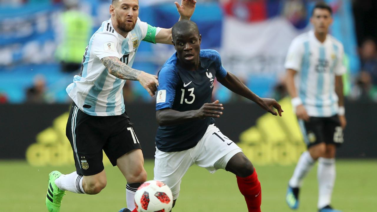 France's midfield machine N'Golo Kante in action against Argentina's Lionel Messi.