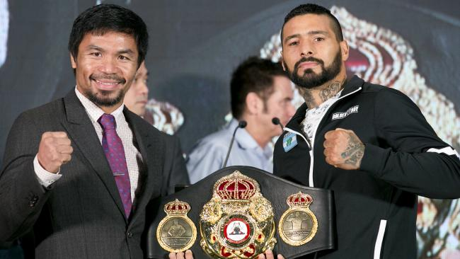 Manny Pacquiao and Lucas Matthysse pose for the media ahead of their world title bout.