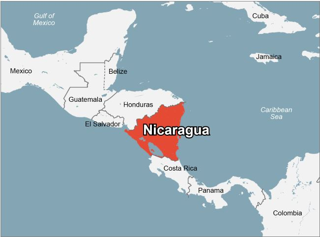 Nicaragua is in the centre of Central America.