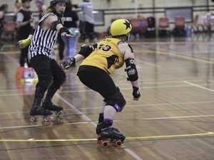 Fraser Coast United Rollers Arsy skates a lap after