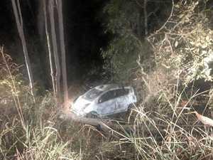 Car plunges 20m down embankment in crash