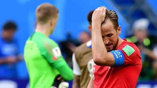 Dejected England captain Harry Kane. Picture: AFP