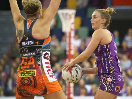 Tippett's fellow Diamond Gabi Simpson looks to pass. Picture: Getty Images