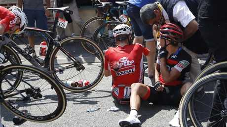 Australia's Richie Porte just moments after his race-ending crash. Picture: AP