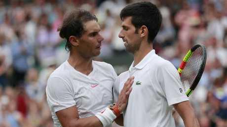 Novak Djokovic beat Rafael Nadal in a five-set epic. Pic: AP