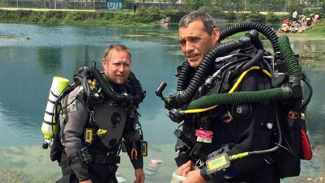 Retired Perth vet and cave diving expert Craig Challen, right, with his Adelaide diving partner Richard Harris. Challen and Harris were crucial to the rescue operation which successfully saved 12 boys and their football coach out of a cave in Thailand.