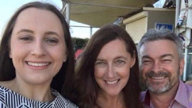 Sarah Ristevski with her parents, Karen and Borce.