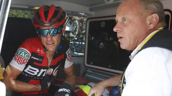 Australia's Richie Porte in an ambulance after abandoning the race. Picture: AP