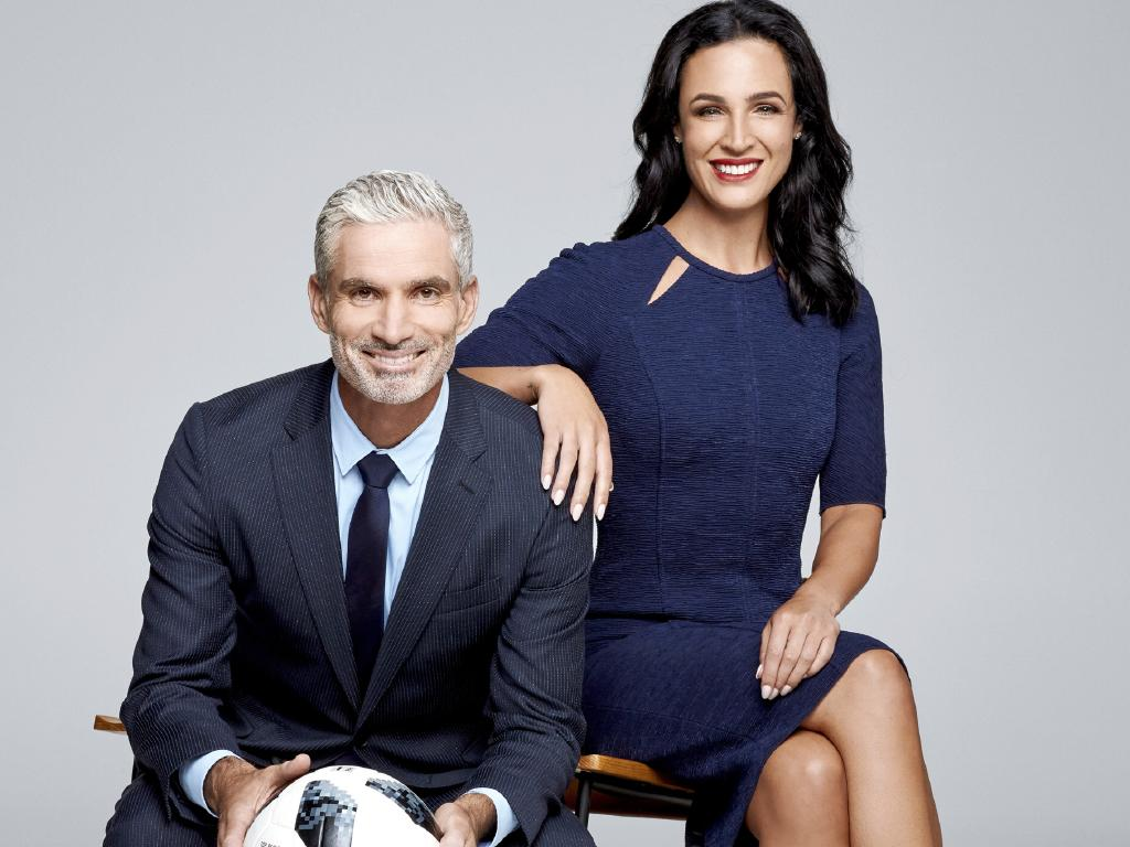 Craig Foster and his SBS World Cup co-host Lucy Zelic.