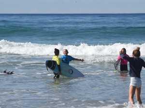 Lennox Head surfer Ocea Curtis congratulates Mia