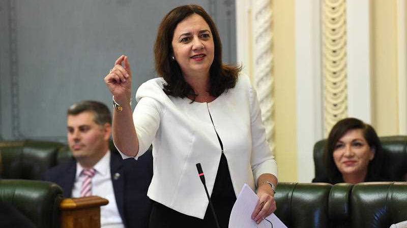 Queensland Premier Annastacia Palaszczuk gestures during Question Time at Parliament House in Brisbane, Wednesday, June 13, 2018.