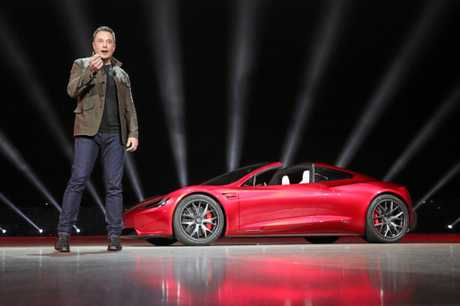 Tesla boss Elon Musk with the new Roadster. Source: Supplied.
