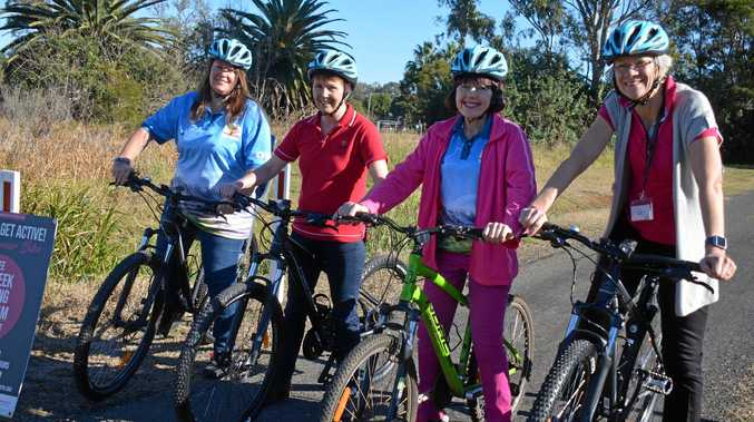 South Burnett Councillors Danita Potter, Roz Frohloff, Kathy Duff and Ros Heit get on their bikes at the Rail Trail ahead of the Get Out Get Active program.