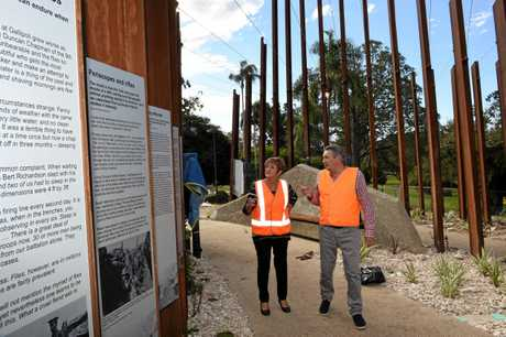 UNIQUE MEMORIAL: Queens Park Military Trail Committee members Nancy Bates and Greig Bolderrow examine the Gallipoli to Armistice memorial site ahead of its opening this Saturday. The site will be one of the most unique in the country, according to serving infantry officer Colonel Chris Austin.