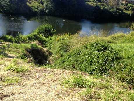 Erosion  behind Imbil's CBD.