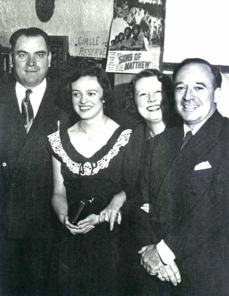 Sons of Matthew premiere in Stanthorpe back in 1950 with Chris Sourris (left) with Jean, Elsa and Charles Chauvel (renowned filmmaker).