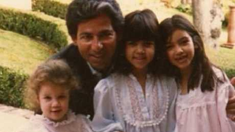 Khloe, Kourtney and Kim with their late father, Robert Kardashian. Picture: kimkardashian/Instagram